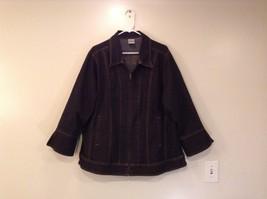 JMS Just My Size Black Jean Jacket Front Zipper No Size Tag Measurements Below