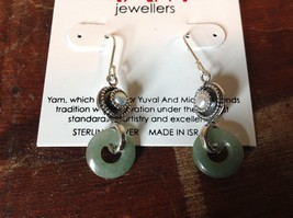 Jade Ring with Pearl Dangling 925 Sterling Silver Handcrafted Earrings