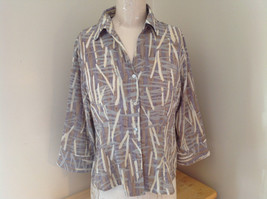Jaipur Pale Purple Tan Paintbrush Design Button Up V Neckline Shirt Size Medium