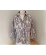 Jaipur Pale Purple Tan Paintbrush Design Button Up V Neckline Shirt Size... - $39.99