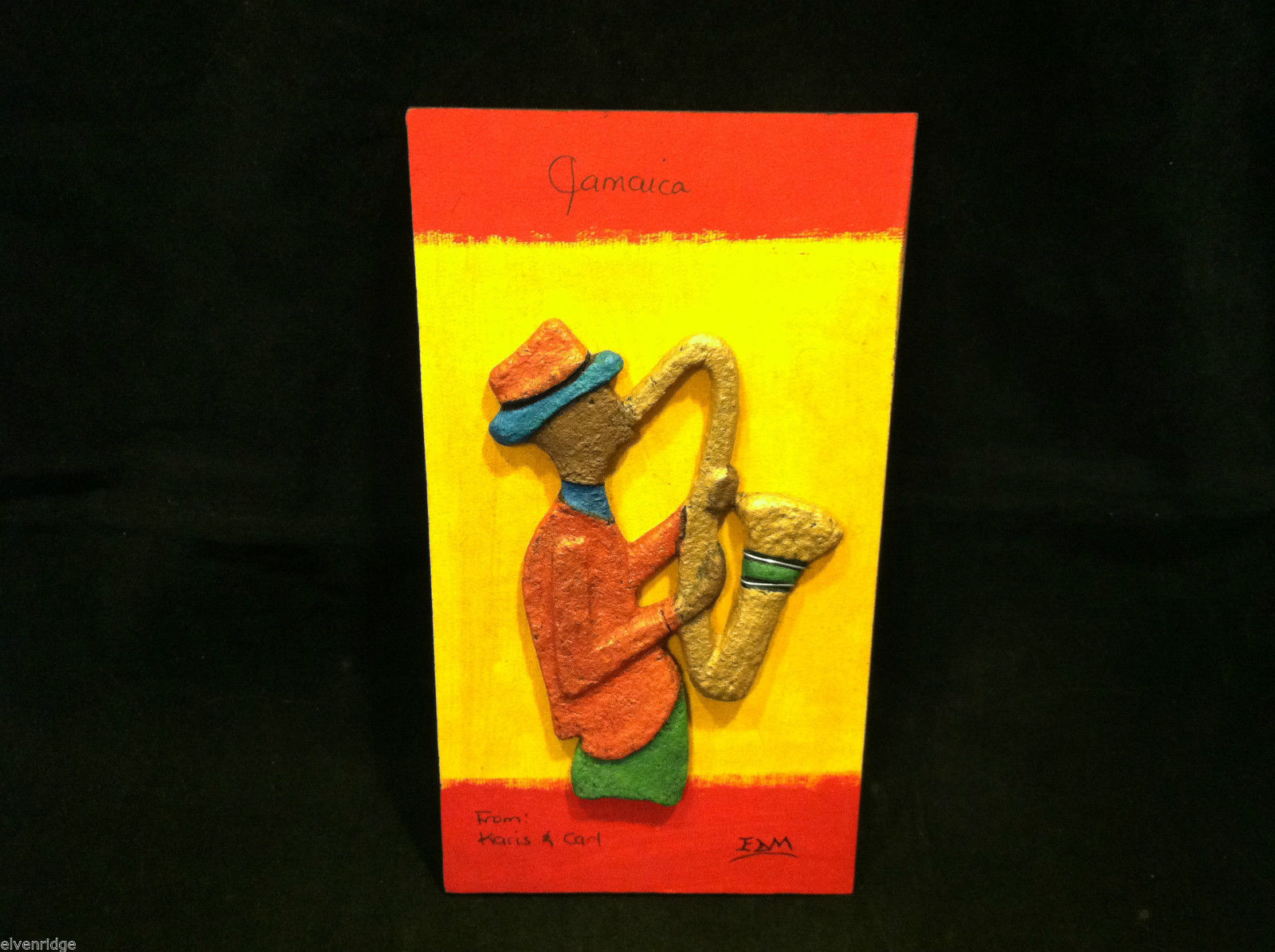Jamaican Eco Friendly Painting of Saxophone Player Signed E. Dain Mcleod