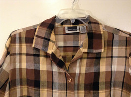 Long Sleeve Multicolored Plaid Button Up Collared Maggie Barnes Shirt Size 18W image 3