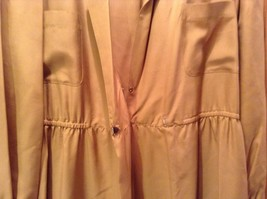 Long Brown Long Sleeved Dress One Button One Clasp Two Pockets Ties at Waist image 2