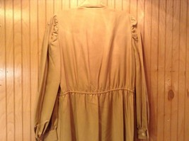 Long Brown Long Sleeved Dress One Button One Clasp Two Pockets Ties at Waist image 5