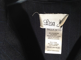 Lisa Jo Navy Blue Black Sleeveless Vest 3 Buttons Collar Formal Size 9 to 10 image 2