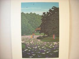 Japanese Color Woodblock Reprint 1951 Iris Garden at Meiji Shrine
