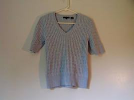 Jeanne Pierre Size Small 100 Percent Cotton Gray Short Sleeve V Neckline Sweater