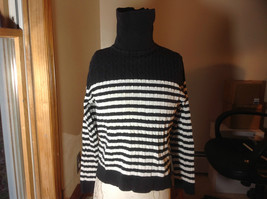 Jeanne Pierre black white striped long sleeve  sweater turtleneck size L image 1