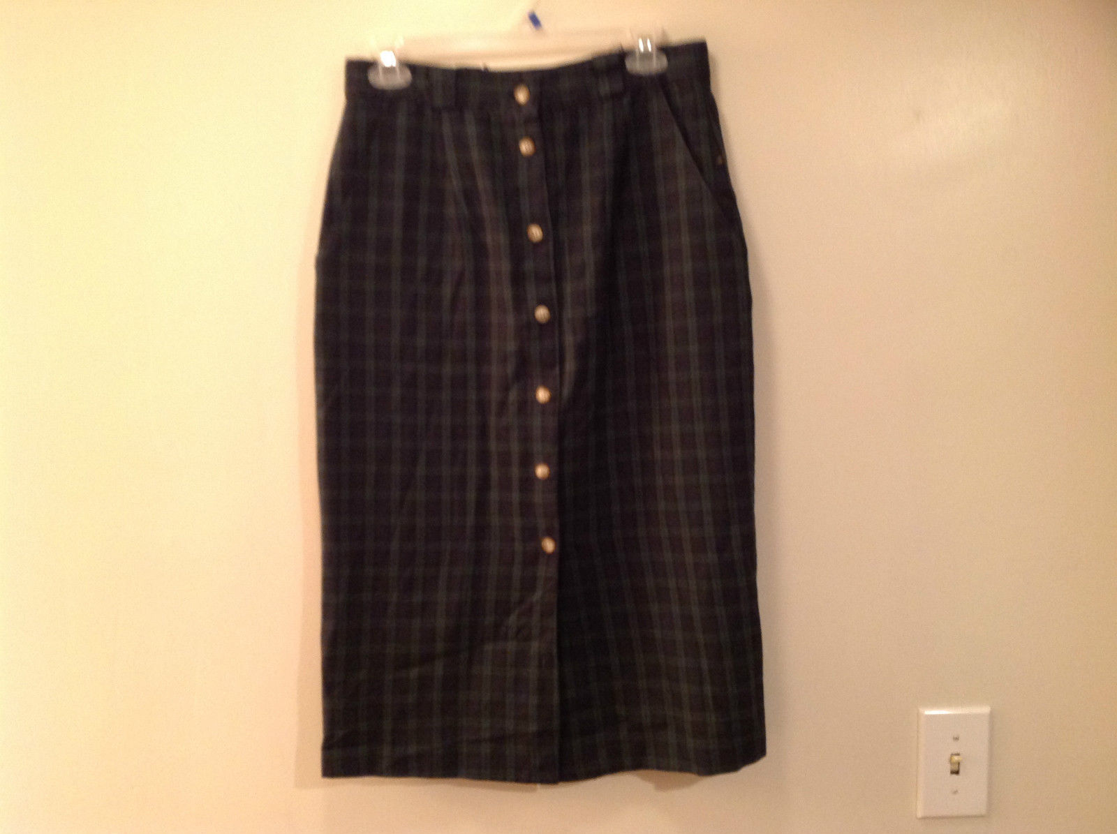 Jennifer Collins Plaid Dark Green Blue Button Up Skirt Side Pockets No Size Tag