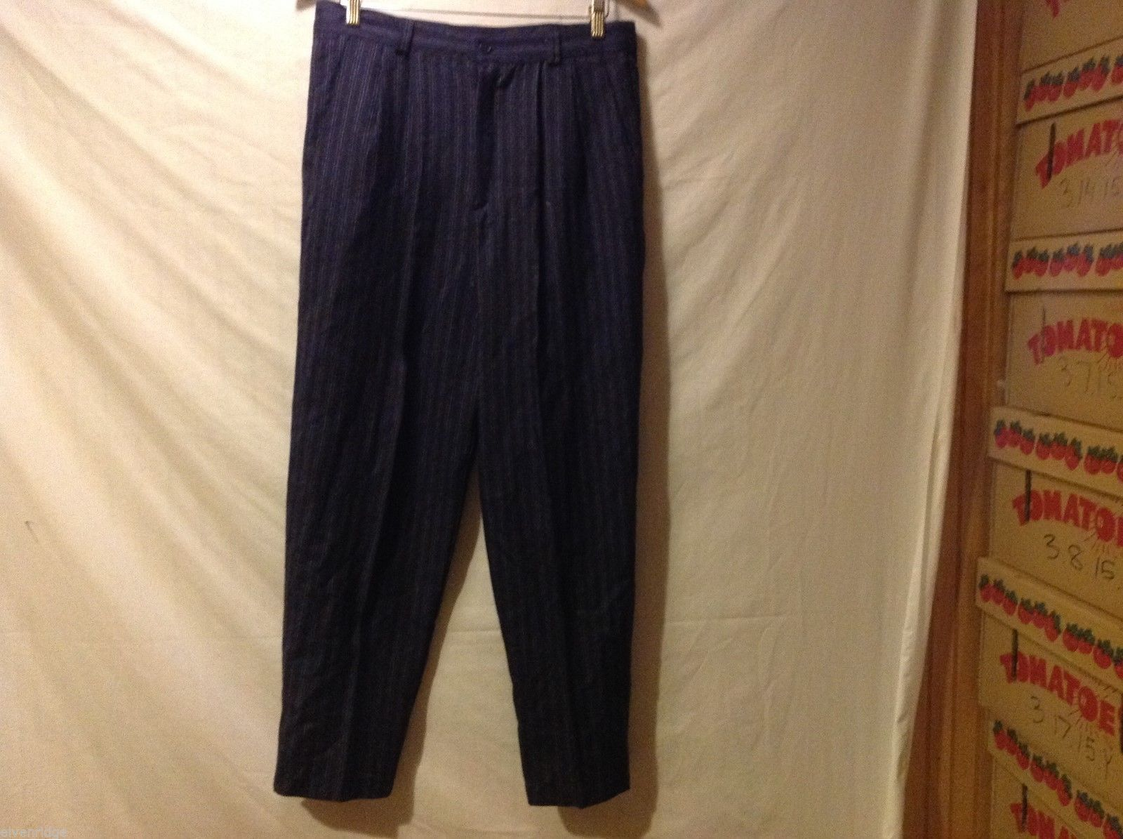 Jennifer Collins Womans Navy Blue Pinstriped Pants, Size 14