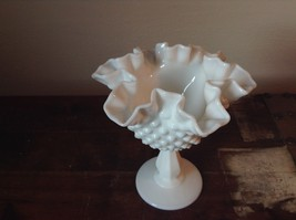 Hobnail White Milk Glass Decorated Berries or Fruit Bowl image 2