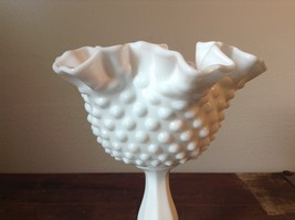 Hobnail White Milk Glass Decorated Berries or Fruit Bowl image 4