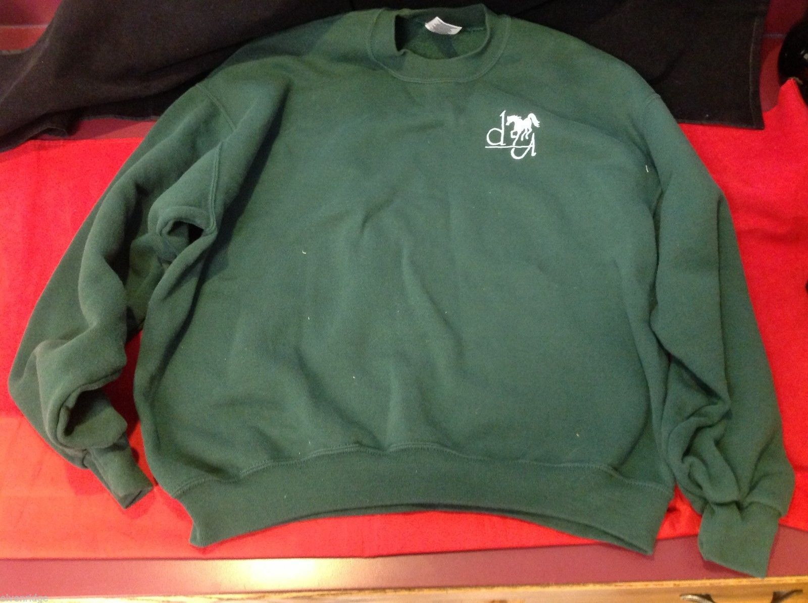 Jerzees large green sweater with horse logo