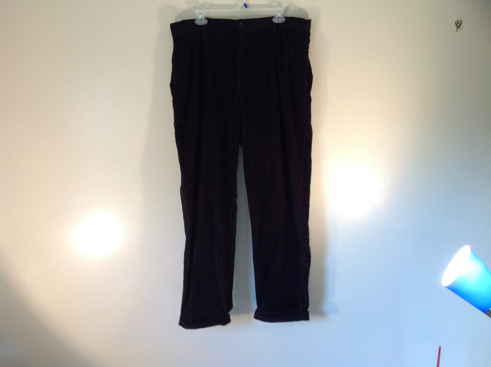 Jet Black Corduroy Pants Club Room 100 Percent Cotton Size 38 by 30