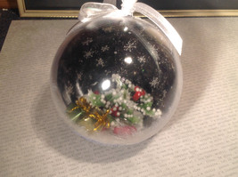 Holiday Christmas miniatures in snow encrusted winter scene ornament image 5