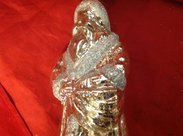 "Holiday glass ornament Christmas Antique look translucent tall 10"" Santa glitter image 5"