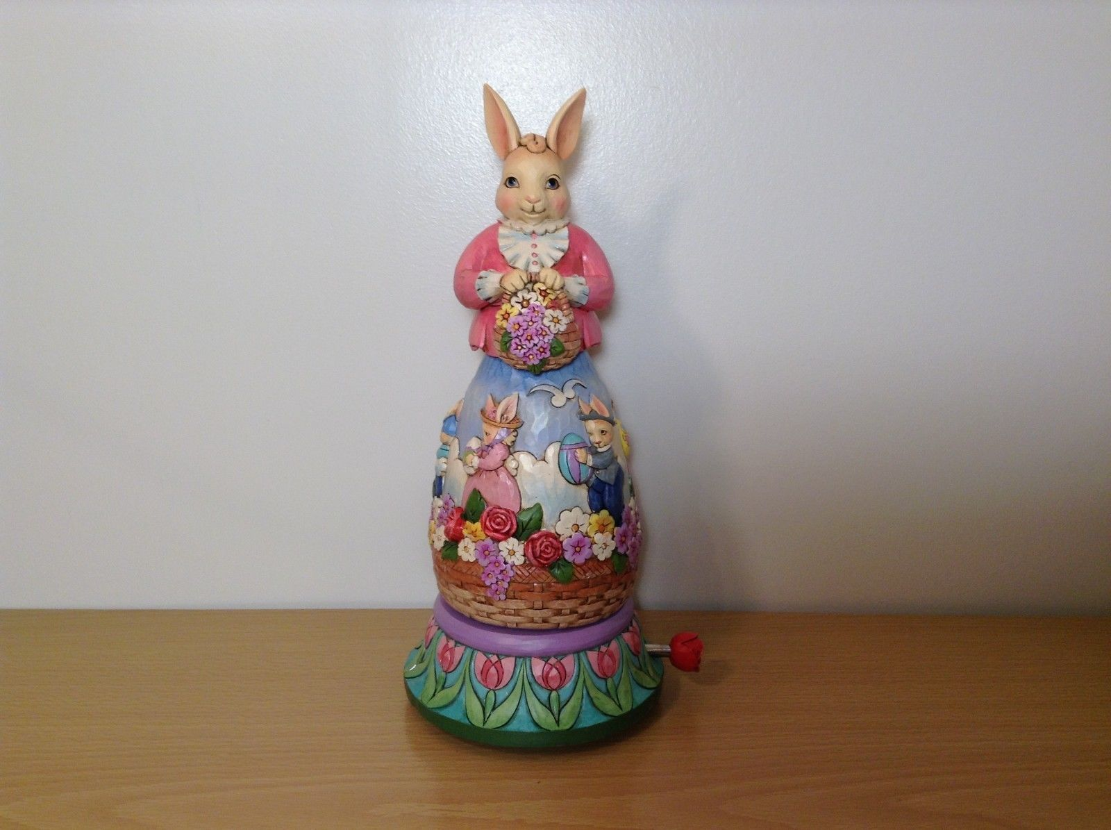 Jim Shore New Easter is Coming on the Way Bunny Rabbit Music Box Carousel NIB