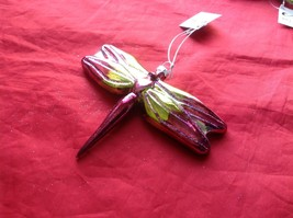 Holiday glass ornament Christmas Colorful iridescent Dragonfly 4 inches tall image 2