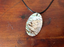 Abalone Shell Multicolored Handmade Oval Pendant Necklace image 4