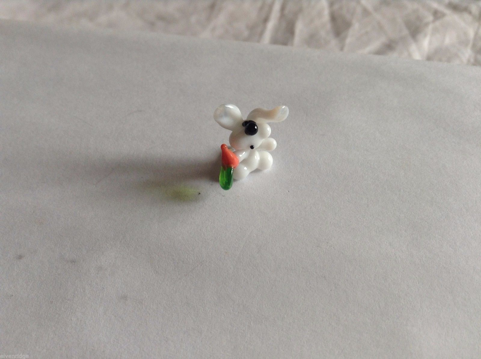 Micro Miniature hand blown glass made USA NIB white bunny w carrot