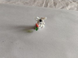 Micro Miniature hand blown glass made USA NIB white bunny w carrot - $39.99