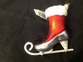 Holiday glass ornament Christmas ADORABLE red white green victorian ice skate image 5