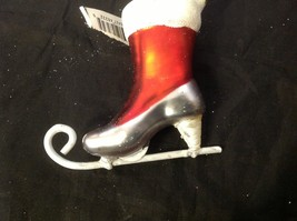 Holiday glass ornament Christmas ADORABLE red white green victorian ice skate image 6