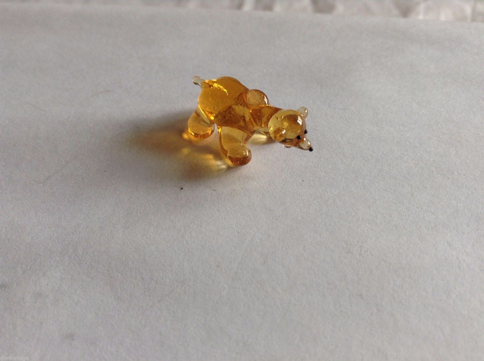 Micro Miniature hand blown glass made USA NIB yellow brown amber bear