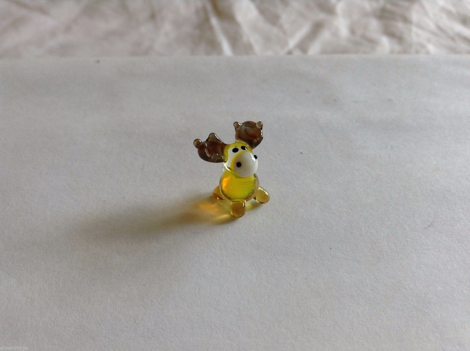 Micro Miniature hand blown glass made USA yellow moose