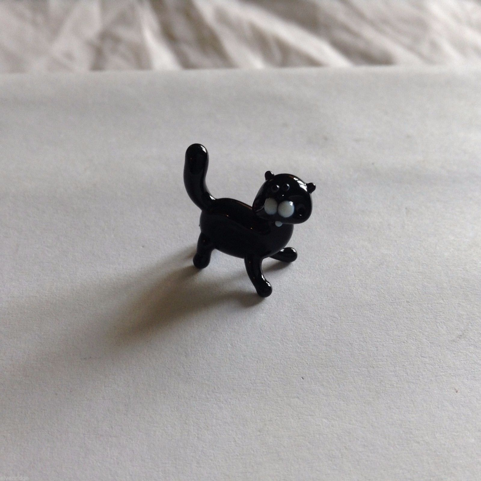 Micro Miniature small hand blown glass BLACK cat  made USA NIB