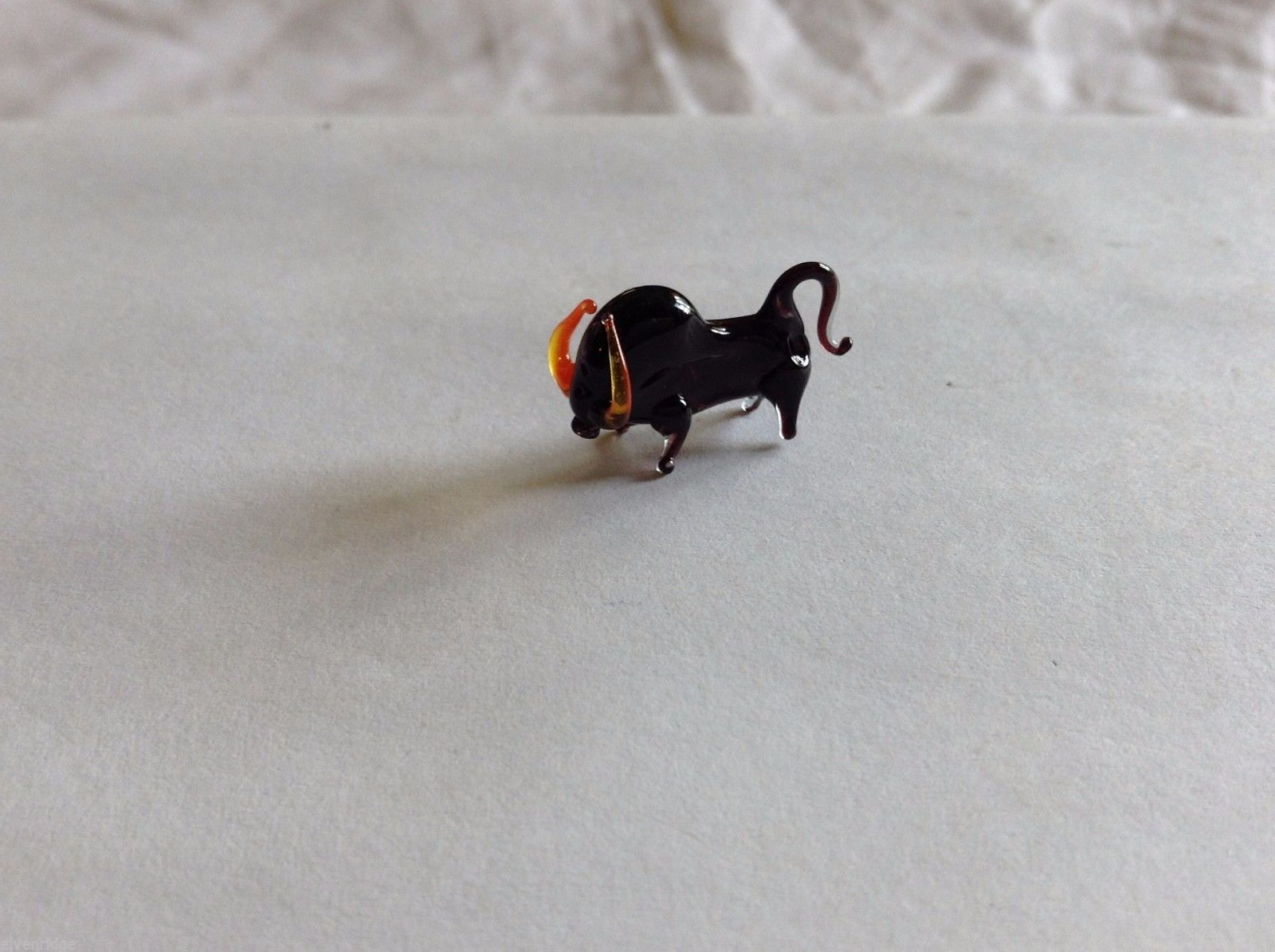 Micro Miniature hand blown glass made USA black bull a orange horns