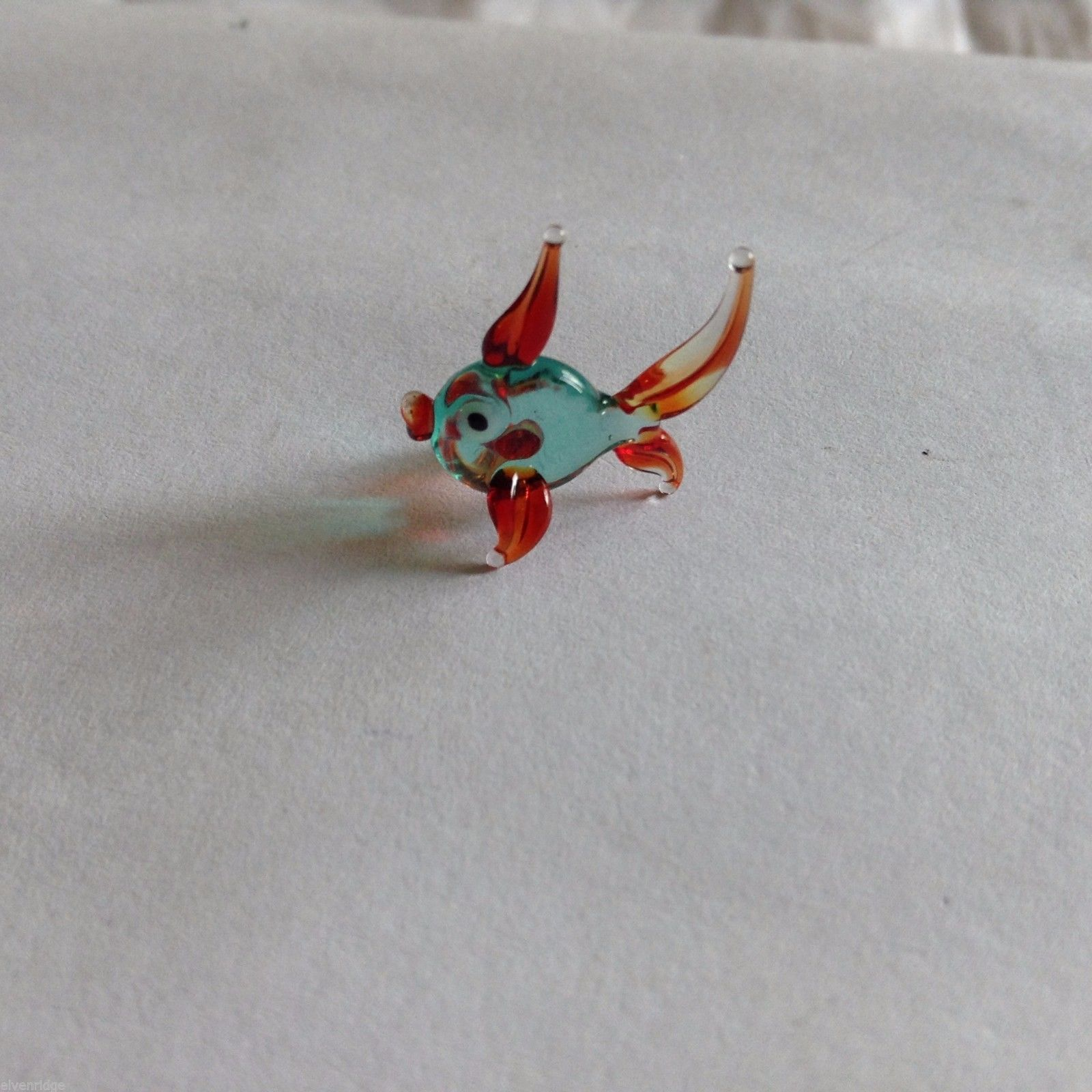 Micro Miniature small hand blown glass aqua and red tropical fish made USA NIB