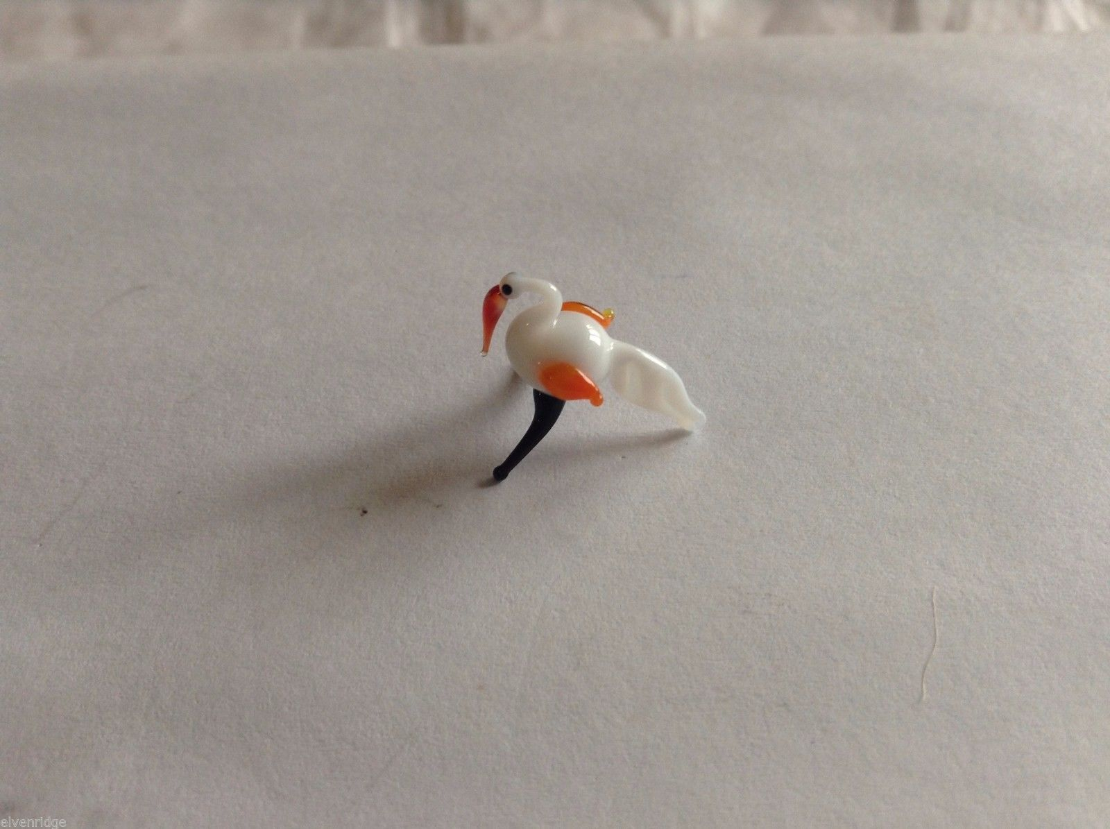 Micro Miniature small hand blown glass made USA NIB white bird w black feet