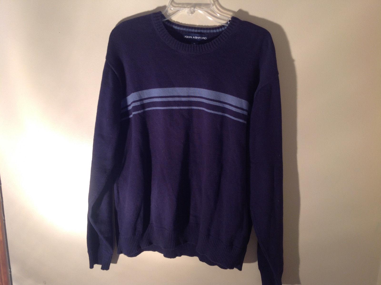 John Ashford Dark Blue with Light Blue Stripe Stretchy Sweater Stretchy Size XL