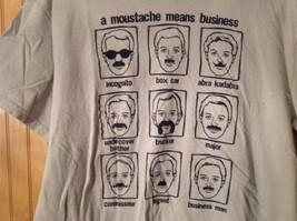 A Moustache Means Business Gray Graphic T Shirt No Size Tag Measurements Below image 2