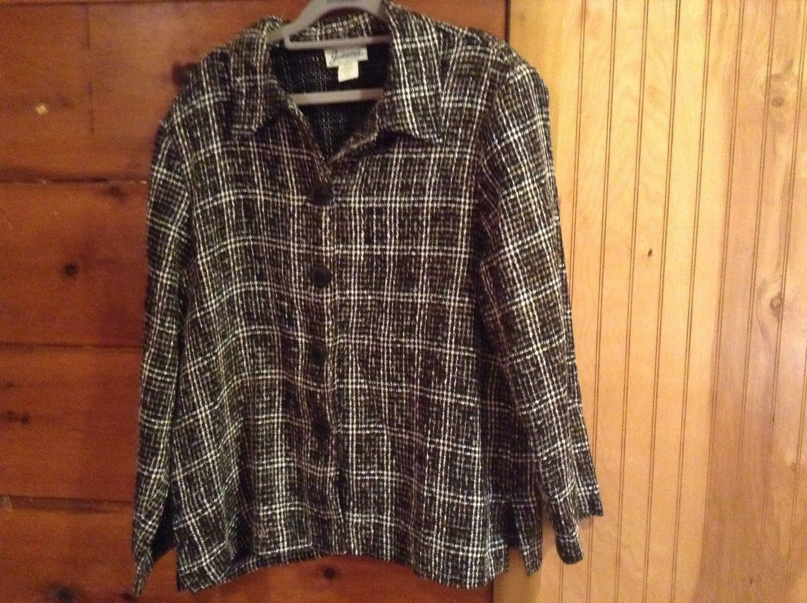 Joanna Multicolored Black Brown White Blazer Coat Shoulder Pads Size XL