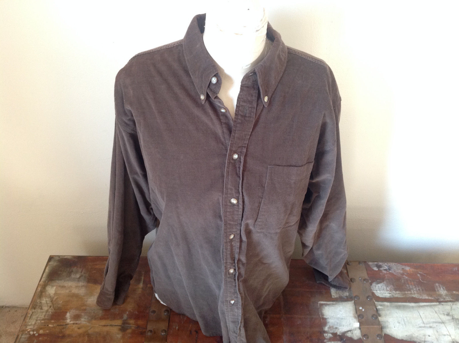 John Ashford Green Brown Corduroy Long Sleeve Button Up Shirt Size Medium