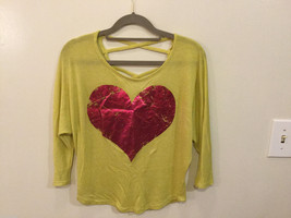 Joice Leslie Yellow Green Metallic Pink Heart 3/4 Sleeve T-shirt Blouse, Size S
