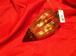 Holiday glass ornament Christmas vintage look metal drop ornaments in Amber image 3