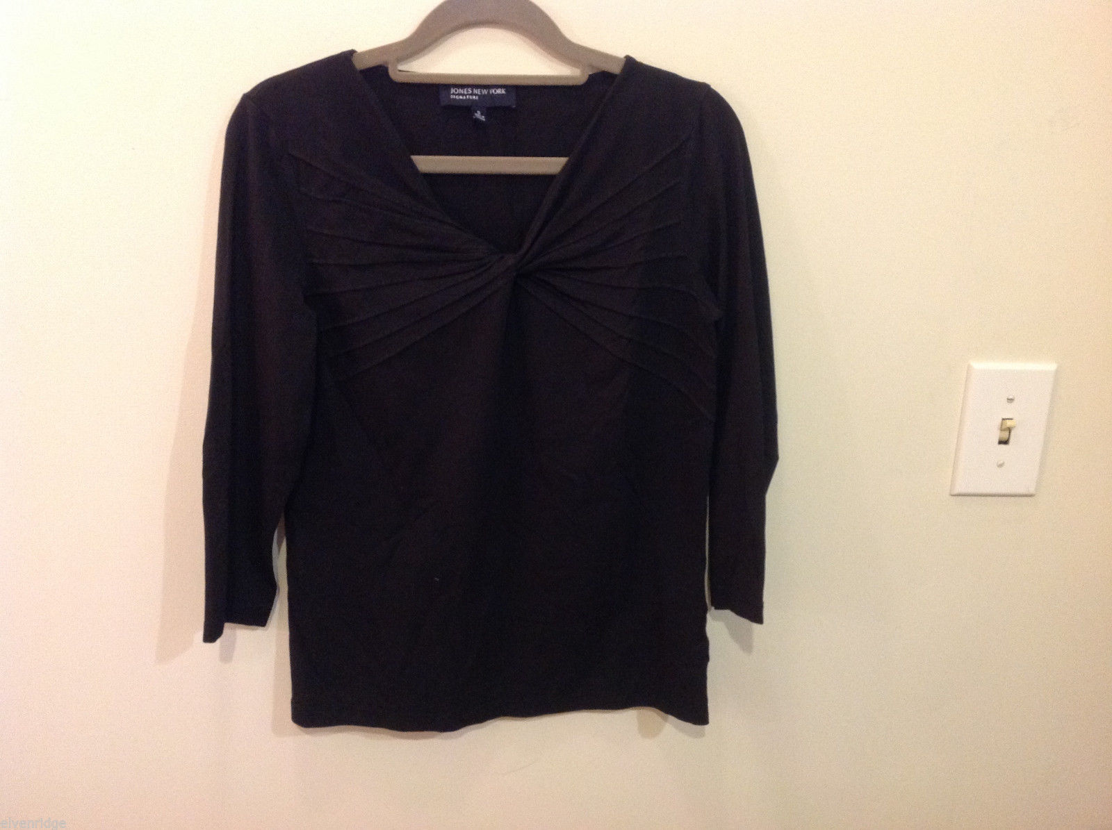 Jones New York V-neck Stretchy Cotton Black 3/4 sleeve Blouse Top, Size S