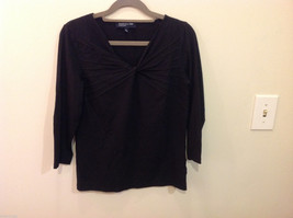 Jones New York V-neck Stretchy Cotton Black 3/4 sleeve Blouse Top, Size S image 1