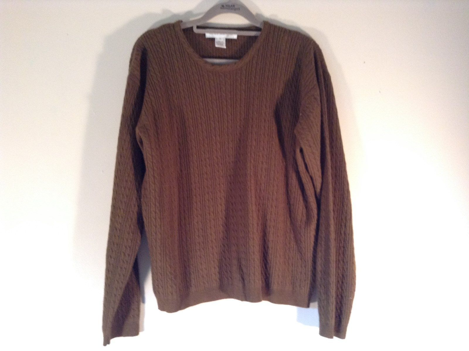 Jones New York Dark Olive Long Sleeve Sweater Size Large Lambs Wool Blend