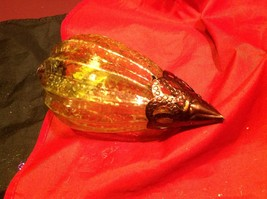 Holiday glass ornament Christmas vintage look metal drop ornaments in Amber image 8