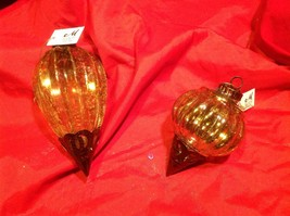 Holiday glass ornament Christmas vintage look metal drop ornaments in Amber image 2