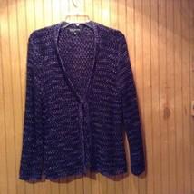 Jones New York Signature Indigo Purple Open Sweater Women Size Large