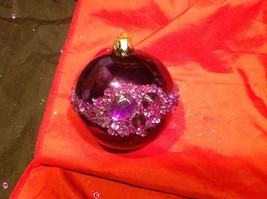 Holiday glass ornament Christmas shiny purple w jewel strips contemporary image 6