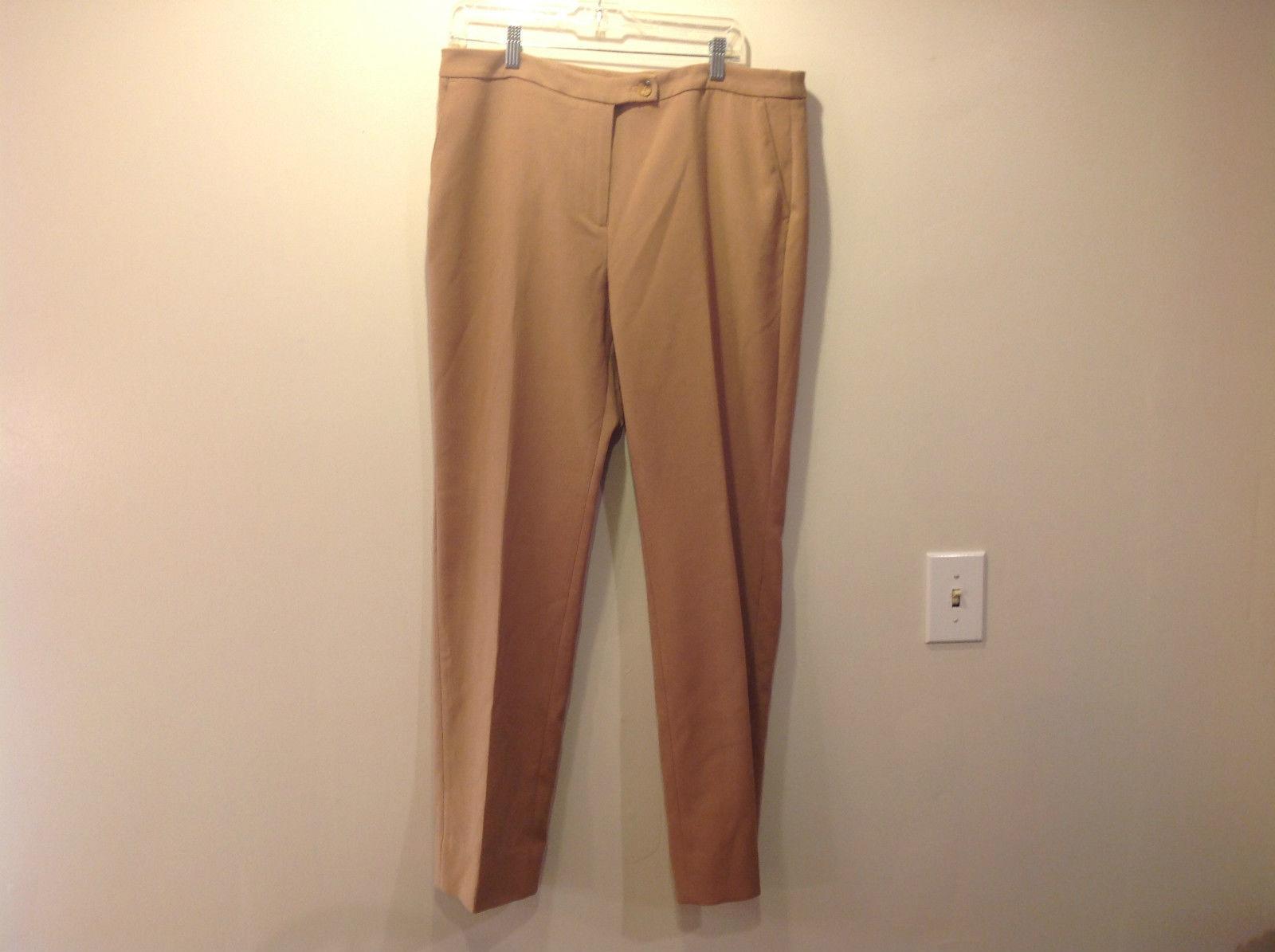 Jones New York Tan Flat Front Dress Pants Stretch Size 14 Good Condition