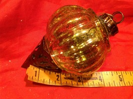 Holiday glass ornament Christmas vintage look metal drop ornaments in Amber image 12