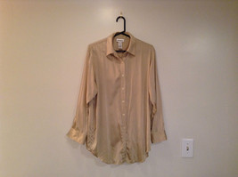 Jones and Company Cream Long Sleeve Silk Button Up Front Blouse Size Medium