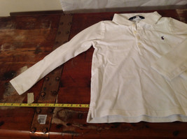 Long Sleeve White Ralph Lauren Collared with Buttons Polo Shirt image 2